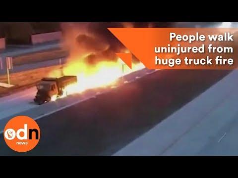 People walk uninjured from huge truck fire in Texas