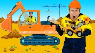 """Construction Machines"" Kids Song - Diggers, Trucks, Backhoe, Construction Toys"