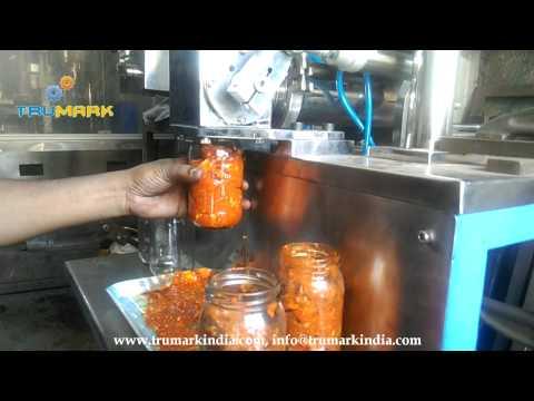 Mango Pickle bottle filling machine, mixed prawn pickle jar filler, ginger garlic paste packing