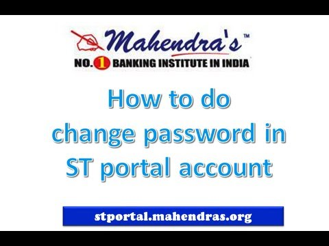 HOW TO CHANGE PASSWORD ON ST PORTAL