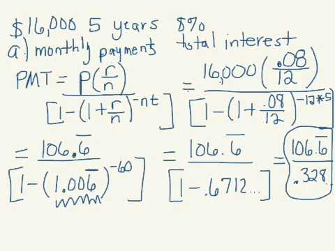 Monthly payment, interest, amortization table