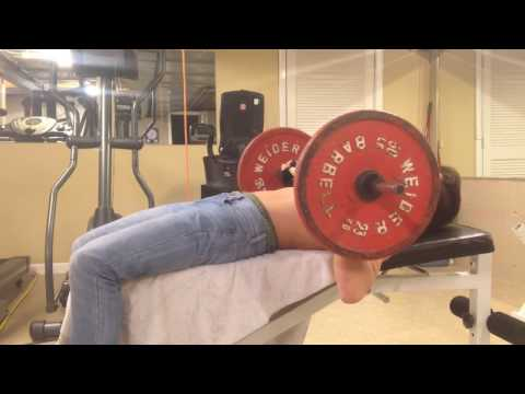 100 lbs + bar on bench press/ 14 year old