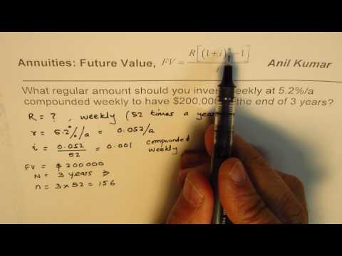 How to Calculate Regular Weekly Payment for Annuity with given Future Value