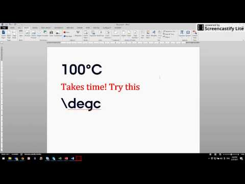 Typing temperature degree symbol in microsoft word