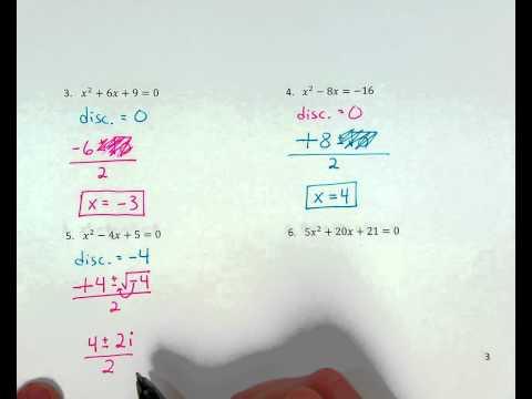 Quadratic Formula ex. 5 (zero real / 2 imaginary solutions)