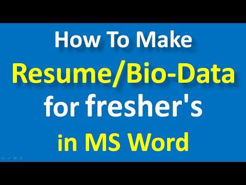 How to make Resume for freshers in MS Word || Bio-data format for freshers -