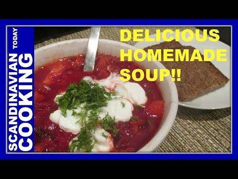How to Make Beetroot Soup - Finnish Recipe - Punajuurikeitto - Borscht