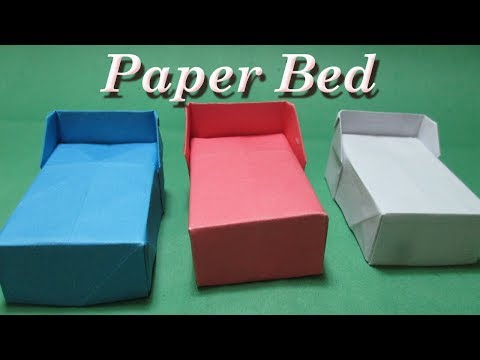 How to Make Easy Origami Bed for Doll / paper bed/ origami.
