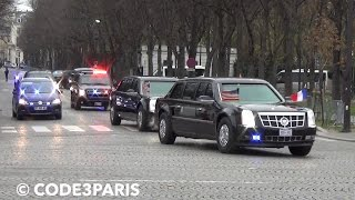 Secret Service in Action! Massive President Obama Motorcade Police Escort The Beast