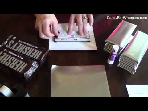 How to wrap a chocolate bar with foil and personalized wrapper.