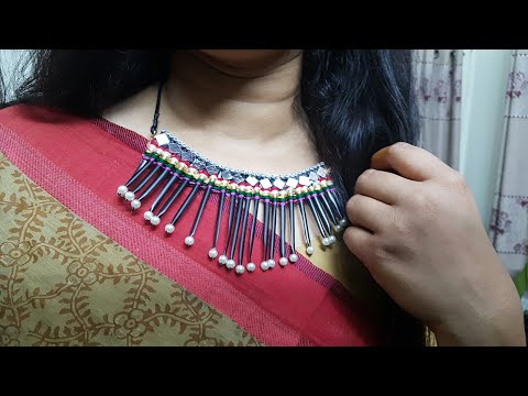 Making of necklace using straw and yarn// How to make necklace