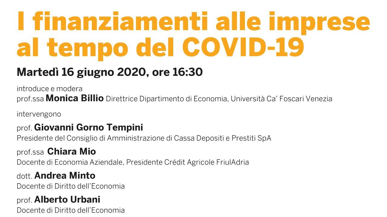 I finanziamenti alle imprese al tempo del COVID-19