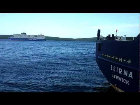 Shetland ferry leaving Lerwick harbour on route to Aberdeen