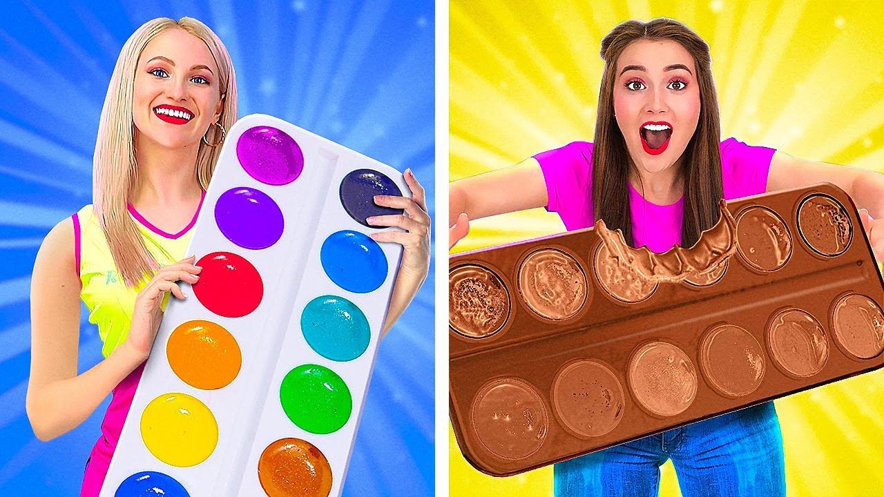 Download TANTANGAN MAKANAN ASLI VS COKELAT! || Cara Makan Makanan dari Cokelat Saja dengan 123 GO! GOLD MP3 Gratis