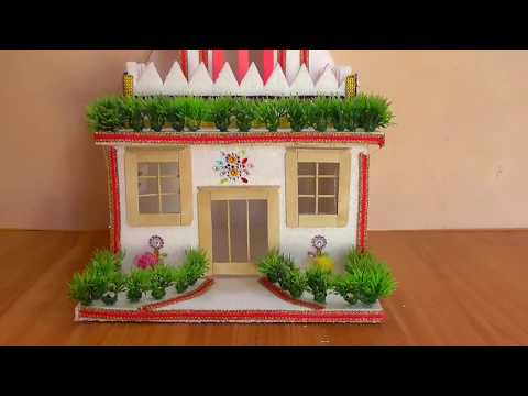 DIY - THERMOCOL HOUSE    HOW TO MAKE THERMOCOL MINI HOUSE FOR PROJECT    DIY  - GARDEN HOME DESIGN