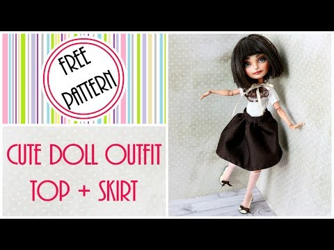 Doll Top and Skirt Outfit for Monster High, Ever After High  / Easy DIY Craft Tutorial, Doll Clothes