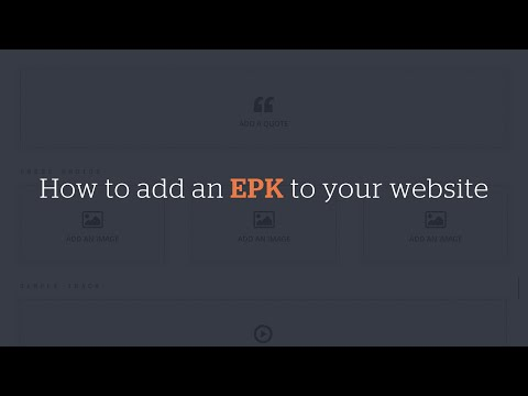 How to add an EPK to your website using a preset page template