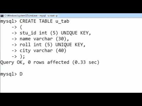 47. UNIQUE KEY in SQL (Hindi)