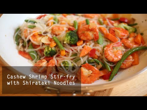 Healthy Shrimp Stirfry with Shirataki Noodles | Low Calorie Meal