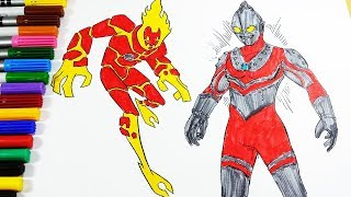 Coloring Pages Ben 10 Fire Blast Ultraman Zoffy - Coloring Videos Ben 10 Coloring Book 2017