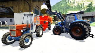 Tractor Collects Bales Of Grass And Tractor With Front Forks - mixture for cows | modern farmer LS19