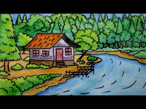 Mudah Menggambar Ilustrasi Pemandangan Anak Caoqaa Lagu Thumbnail Alam Gambar