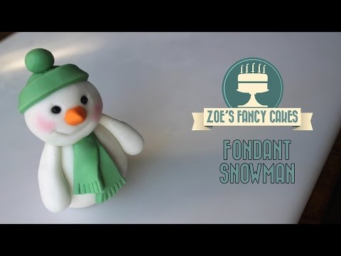 Fondant Christmas snowman cake topper  modelling paste How to make cake decorating tutorial