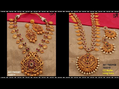 Latest 1 gram gold jewelry with price || 1 gram gold Matt Finish Designs with price