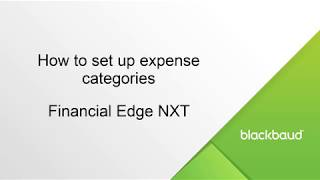 Expense Categories In Financial Edge Nxt