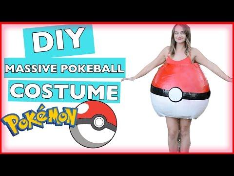 DIY Giant Paper Mache Pokeball Halloween Costume