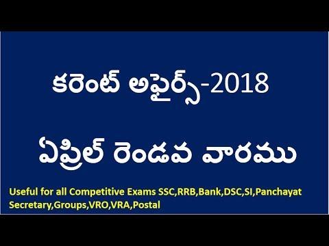 Current Affairs Telugu 2018    April 2nd week Current Affairs