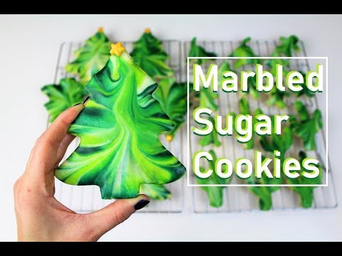Easy Marbled Christmas Tree Sugar Cookies | CHELSWEETS