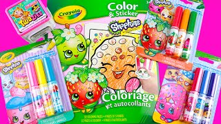 Shopkins Crayola Coloring Sticker Book Speed Color Strawberry Kiss Twozies Unboxing