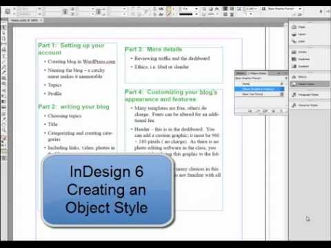 Create an object style InDesign 6