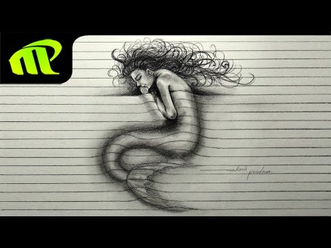 3D Paper Illusion Sleeping Mermaid Drawing | Trick Art