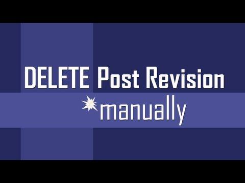 Delete Post Revisions manually in WordPress