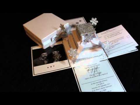 Snow Exploding Box Wedding Invitation