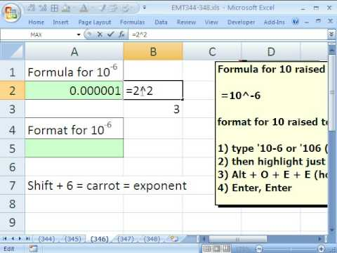 Excel Magic Trick 346: EXPONENTS Formula and Formatting in Excel