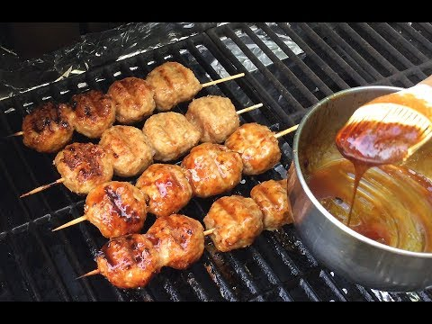 How To Make Tsukune Chicken Meatballs-Teriyaki Glaze Sauce-Japanese Food Recipes-Outdoor Cooking