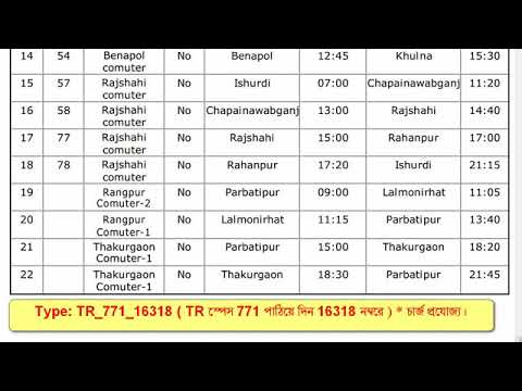 check train position from mobile phone | train code bd | BD train No. schedule