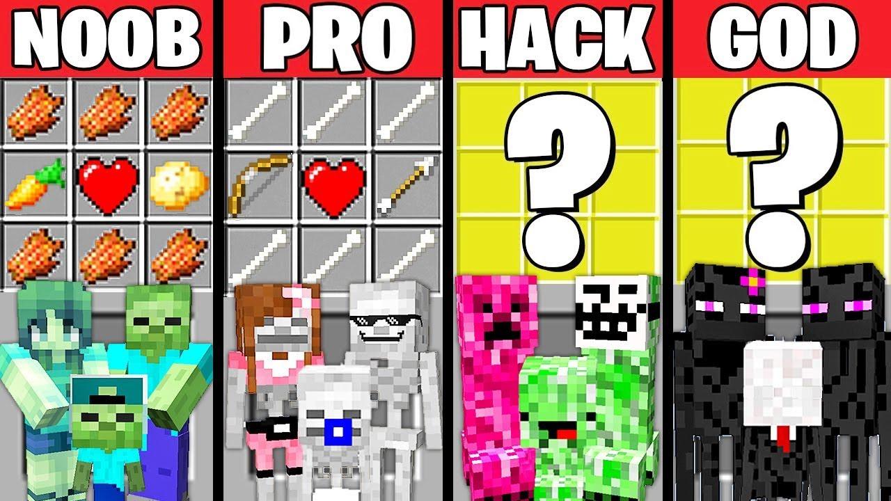 Minecraft Battle: MONSTER FAMILY CRAFTING CHALLENGE - NOOB vs PRO vs HACKER vs GOD ~ Animation