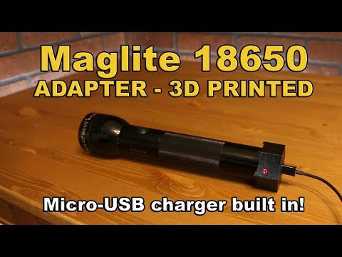 Maglite 18650 Adapter Mod upgrade with charging capability 3d printed