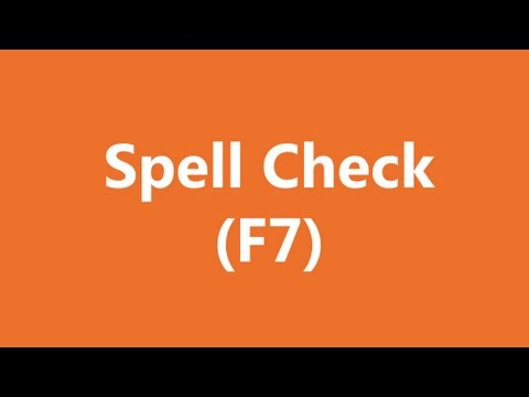 Excel Shortcuts - Spell-Check