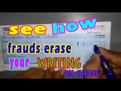 The formula that can erase your writing on Bank Cheque without affecting the printed lines and words