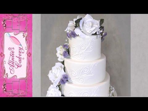Simple Scrolls Wedding Cake