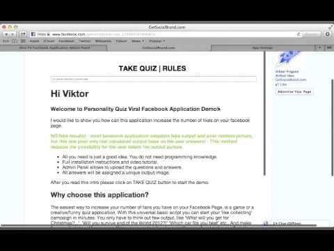 Personality Quiz Viral Facebook Application Demo