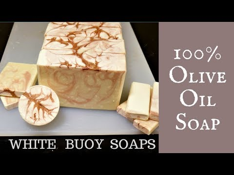 Making 100% Olive Oil Soap/unscented Cold Processes Soap Making/White Buoy Soaps