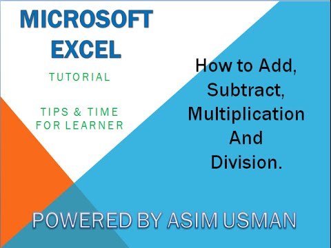 Basic Excel Formulas - Add, Subtract, Divide, Multiply Easy Examples