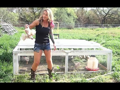 Beautiful country girl butchering Cornish X at The Crouch Ranch