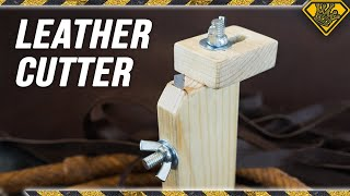Leather Strip Slicer made from Wood and Razors
